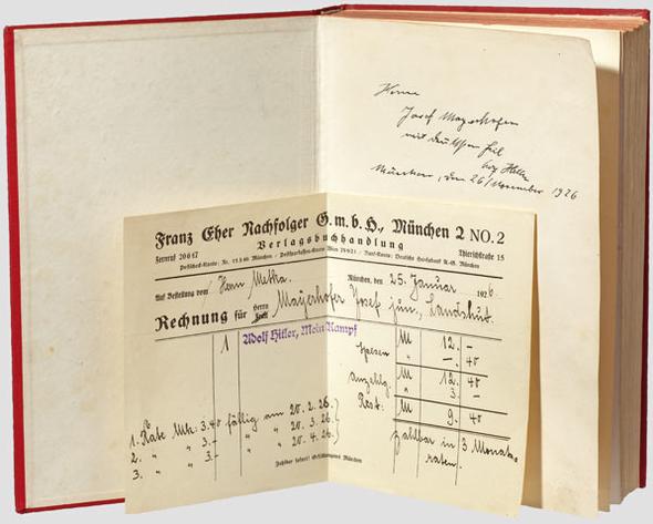 Auktionsexemplar mit Kaufquittung - (Hitler, Autogramm, Signatur)