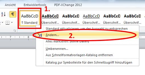 Bild 1 | Formatvorlage Standard ändern - (Computer, Windows, Programm)