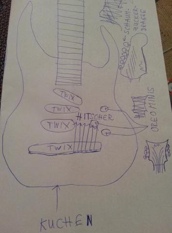 - (Geschenk, Gitarre, Süßigkeiten)