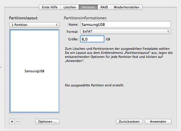 So sollte in Festplattendienstprogramm die Einstellung aussehen - (Mac, USB, umwandeln)