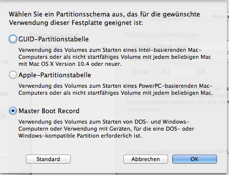 Hier Master Boot Record auswählen - (Mac, USB, umwandeln)