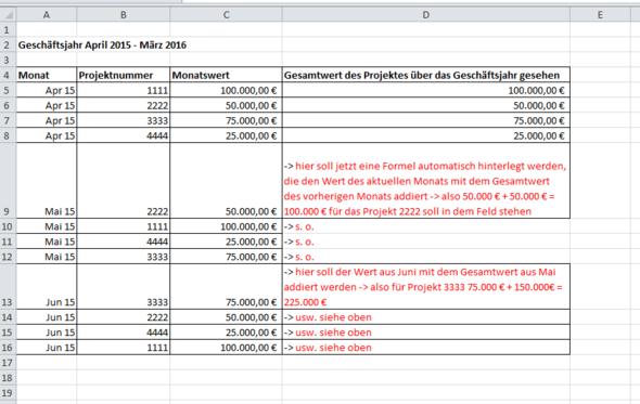 Beispiel Excel - (Suche, Excel, Letzter Monat)