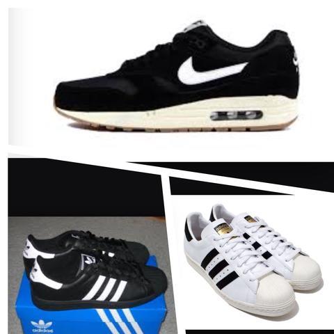online store d4832 76054 Schwarz weiße Nike oder Adidas Schuhe