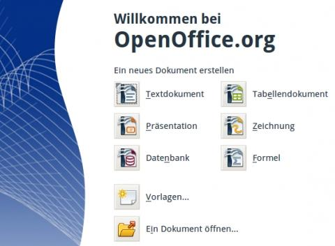 Startbildschirm von OpenOffice - (Referat, Powerpoint)