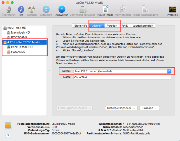Festplattendienstprogramm - (Festplatte, Mac, externe Festplatte)