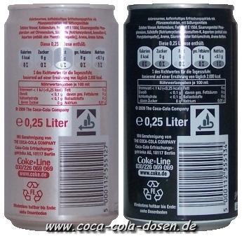 Coca-Cola light & zero Dosen 0,25L, Rückseite - (Unterschied, Cola)