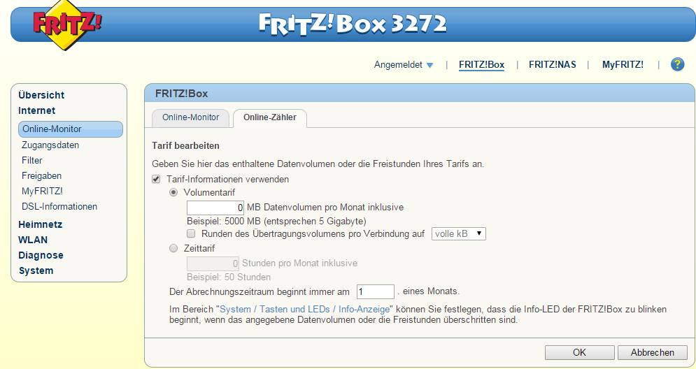 kann man bei der fritzbox 7412 auch einen volumentarif einrichten internet router fritz box. Black Bedroom Furniture Sets. Home Design Ideas