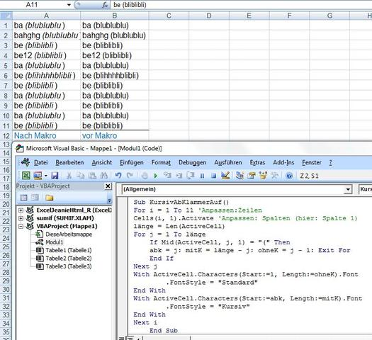 KursivAbKlammerAuf - (Excel, Formel, formatieren)
