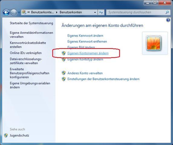 Kontonamen ändern - (Windows 7, Ordner, Umbenennen)