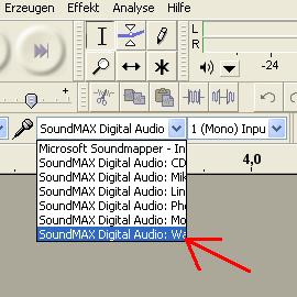 """Stereosumme (""""Waveausg.-Mix"""") über die Statusleiste auswählen - (Audacity, How To, Systemsounds aufnehmen)"""
