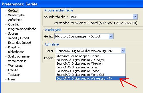"""Stereosumme (""""Waveausg.-Mix"""") über """"Bearbeiten --> Einstellungen"""" auswählen - (Audacity, How To, Systemsounds aufnehmen)"""
