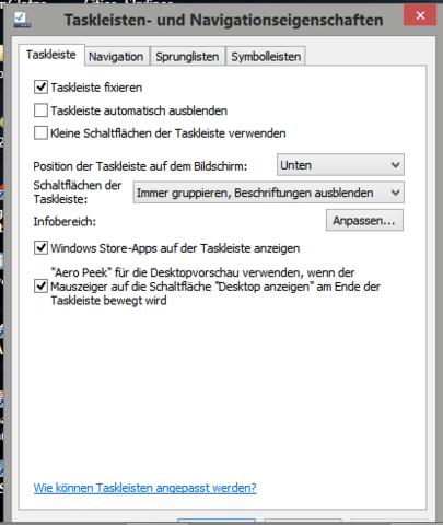 Wie kann ich die windows 8 taskbar immer im vordergrund for Fenster immer im vordergrund