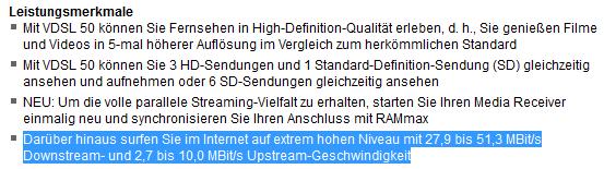 VDSL Tarif-Info Geschwindigkeits-Korridor - (Internet, Telekom, Leitung)
