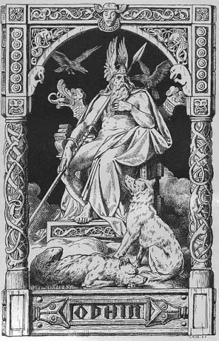 Odin auf seinem Thron, von Johannes Gehrts 1888. - (Schule, Geschichte, Gott)