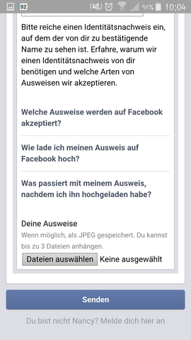 - (Facebook, Namen, Support)
