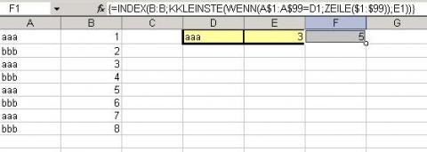 """das 3te vorkommen von """"aaa"""" - (Excel, Formel, Sverweis)"""