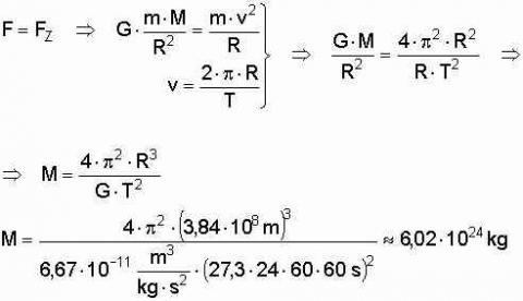 Erdmasse aus Monatslänge und Entfernung - (Physik, Astronomie)