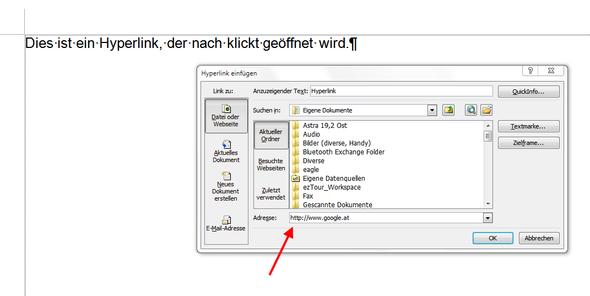 Text markieren und STRG+k drücken oder rechte Maustaste/Hyperlink! - (Informatik, Wissenschaft, Word)