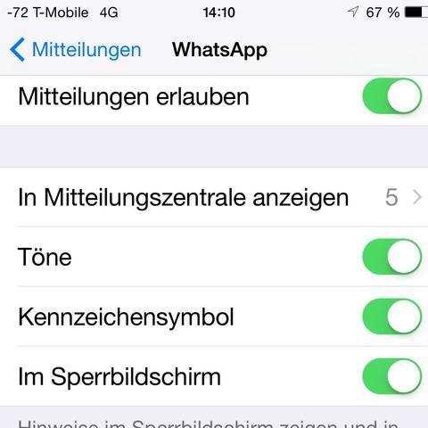 Oberer Teil der Einstellungen - (Internet, Handy, iPhone)