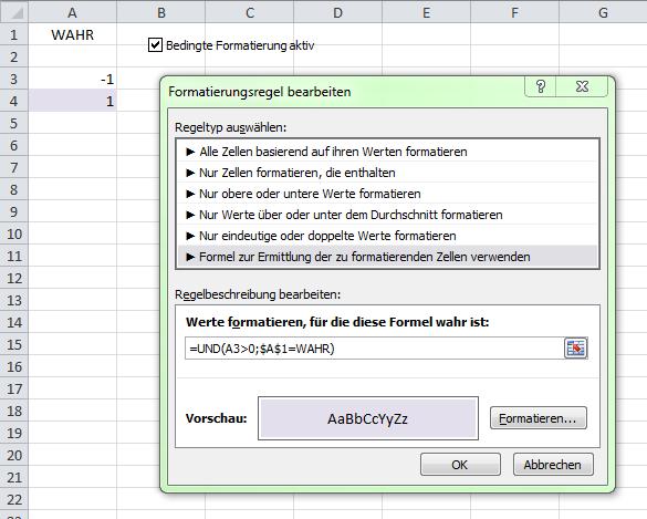 Mit Kontrollkästchen bedingte Formatierungen an- und abschalten - (Excel, makro, VBA)