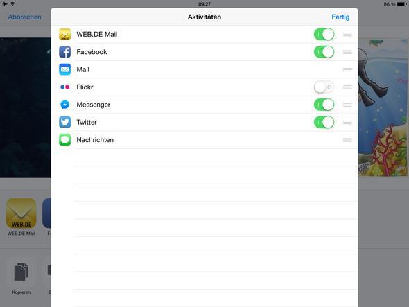 Diese Auswahlmöglichkeiten bestehen dann  - (Programm, iPad)