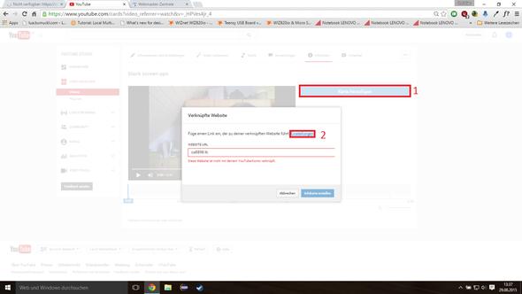 Erst karte erstellen und url eintragen, wird aber fehlschlagen - (Youtube, Website, strato.de)