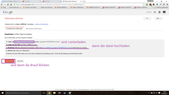 hmtl runterladen und auf den server hochladen, Fertig - (Youtube, Website, strato.de)