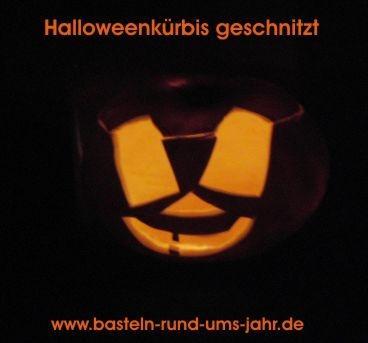 Halloweenkürbis geschnitzt von www.basteln-rund-ums-jahr.de - (basteln, Halloween, Dekoration)