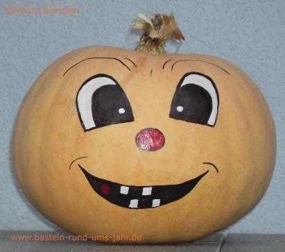 Halloween Kürbis mit Gesicht von www.basteln-rund-ums-jahr.de - (basteln, Halloween, Dekoration)