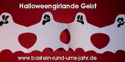 Halloweengirlande Geist von www.basteln-rund-ums-jahr.de - (basteln, Halloween, Dekoration)