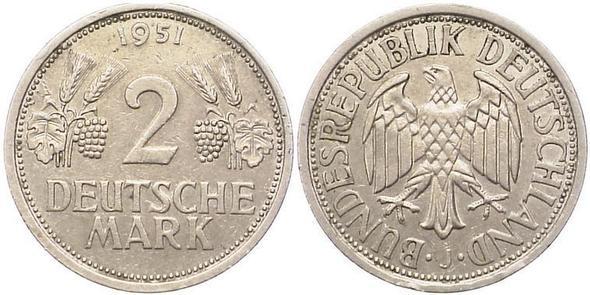 2-DM-Münze von 1951 - (Wert, Münzen)
