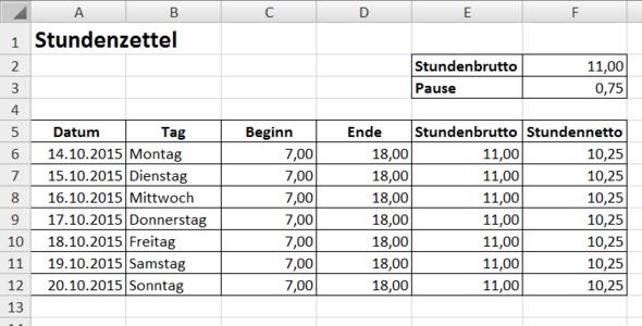 Rechnung - (Excel, Office)