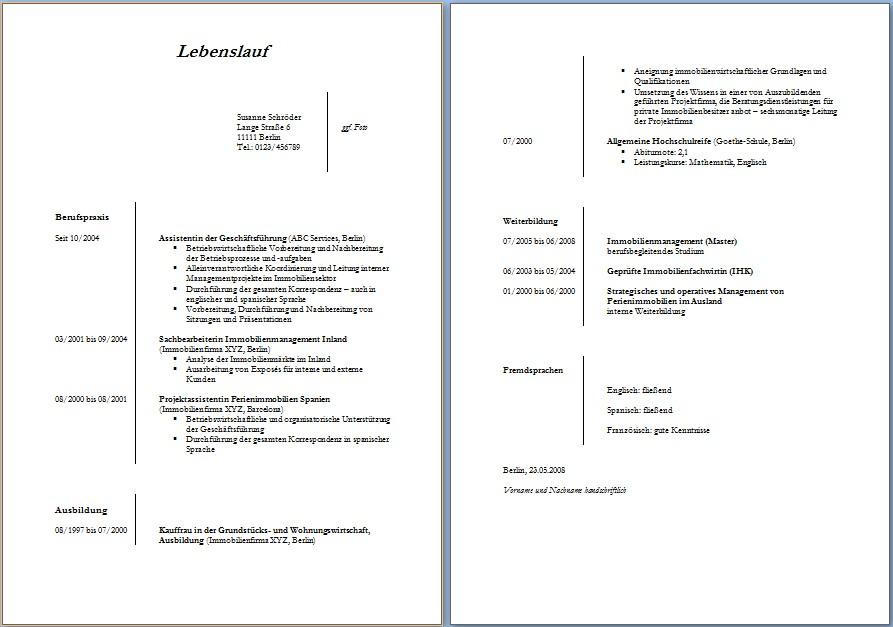 Nett Original Lebenslauf Vorlagen Wort Bilder - Beispiel Anschreiben ...