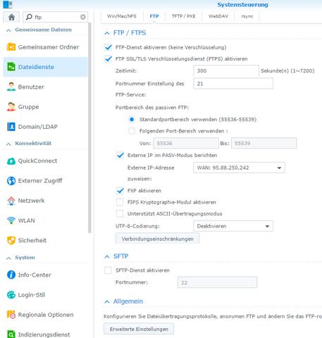 Beispielparametrierung des FTP-Servers  - (Computer, Netzwerk, SMTP)