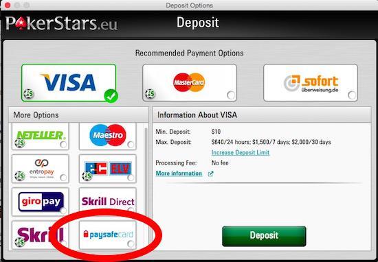Pokerstars Deposit - (Paysafecard, Poker)