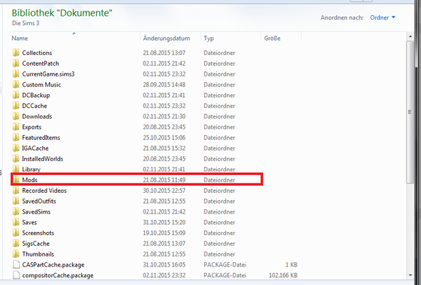 du brauchst den makierten ordner - (Computer, Download, Sims 3)