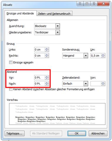 Hier kannst du den Abstand vor und nach einem Absatz einstellen. - (Microsoft, Word, Fußnote)