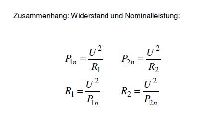 Nominalleistung und Widerstand - (Physik, Elektronik, Stromkreis)