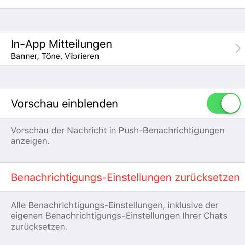 """Einstellungen > Mitteilungen > """"Vorschau einblenden"""" auf aus - (Handy, iPhone)"""