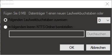 Das Fenster mit den zwei Sachen zum auswählen - (Festplatte, Windows 10, externe Festplatte)