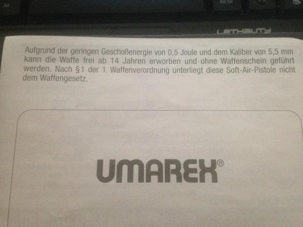 Anmerkung auf der Rückseite d. Anleitung - (Softair, Airsoft, p99)