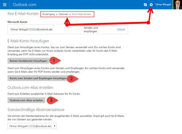 E-Mail-Konto in Outlook.com einstellen - (Email, Outlook)
