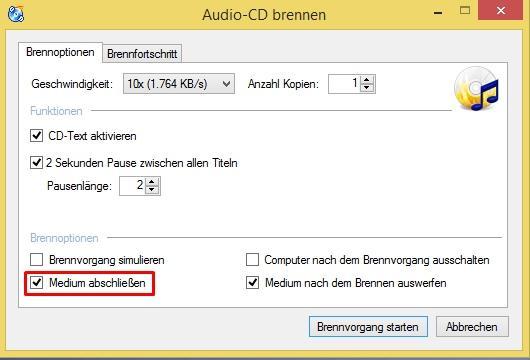 Medium abschließen - (audio, CD, brennen)