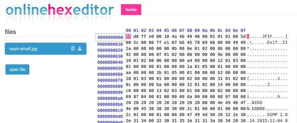 Onlinehexeditor mit geöffnetem JPG - (PC, Word, Bildbearbeitung)