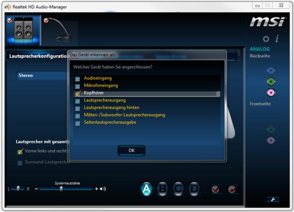 Fenster - (PC, Headset, Anschluss)