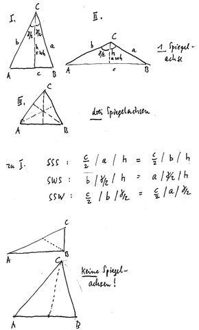 Spiegelachsen im Dreieck/ Winkelhalbierende - (Schule, Mathe, Konstruktion)