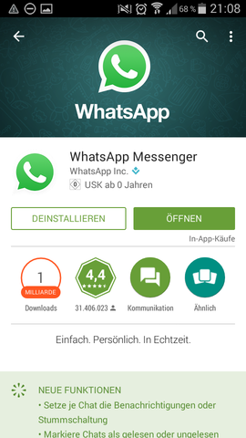 Playstore  - (Android, WhatsApp, kitkat)
