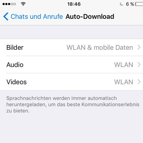 Whatsapp>Einstellungen>Chats und Anrufe>Medien Autodownload - (iPhone, Whats App)
