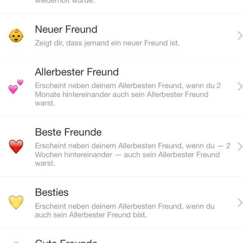 """Snapchat Einstellungen , dann """"Einstellen"""" und dann """"Freundschaftemoji"""" - (Snapchat, Smiley)"""