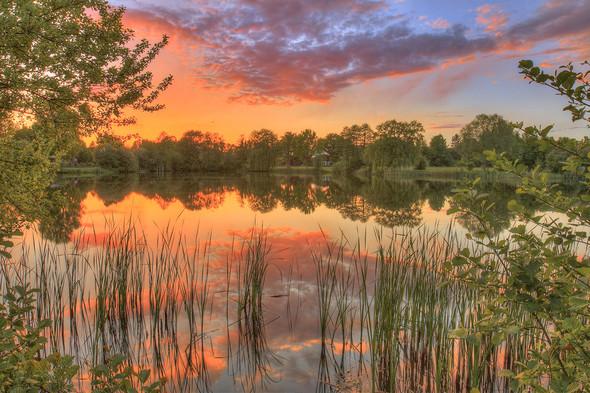 Sonnenuntergang über dem Thielenburger See (HDR),  Kam.: EOS70D/EF16-35mm f/2.8L - (iPhone, Kamera, Umfrage)